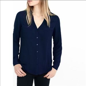 NWT Express Blue Slim Fit Portofino Blouse, Size M